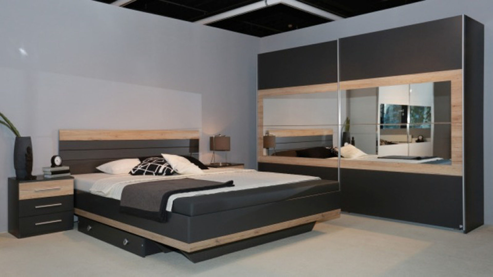 Schlafzimmer taupe
